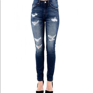Kancan skinny high rise destroyed jeans
